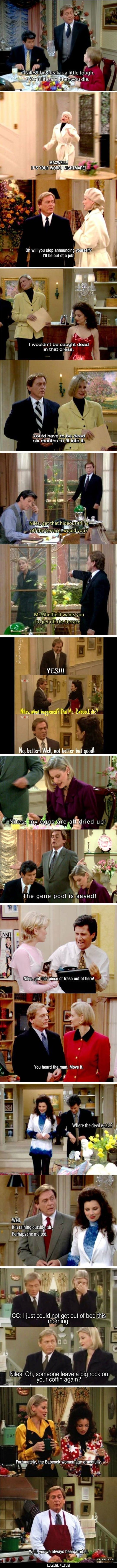 Niles, The Original Burn Master#funny #lol #lolzonline << WHO IS THIS MAN??>>>HE'S FROM THE BEST SHOW EVER CALLED THE NANNY AND I LOVE HIM