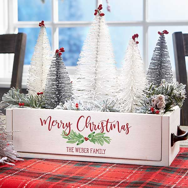 Watercolor Wreath Personalized Christmas Wood Centerpiece Box Christmas Boxes Decoration Christmas Table Centerpieces Christmas Wood