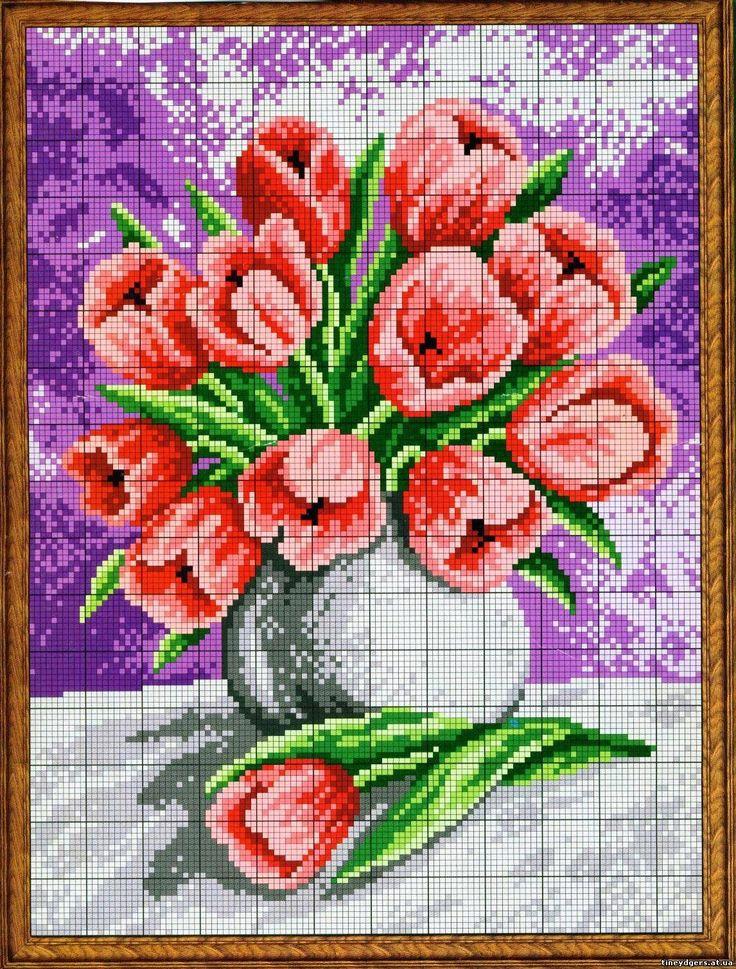Схемы: схемы для вышивки: тюльпаны