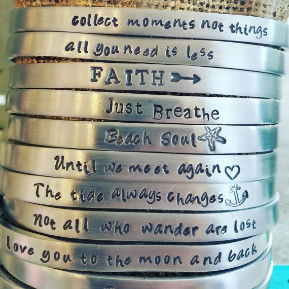 Mantra Bracelet Hand Stamped Metal Cuff by RothJewelry on Etsy