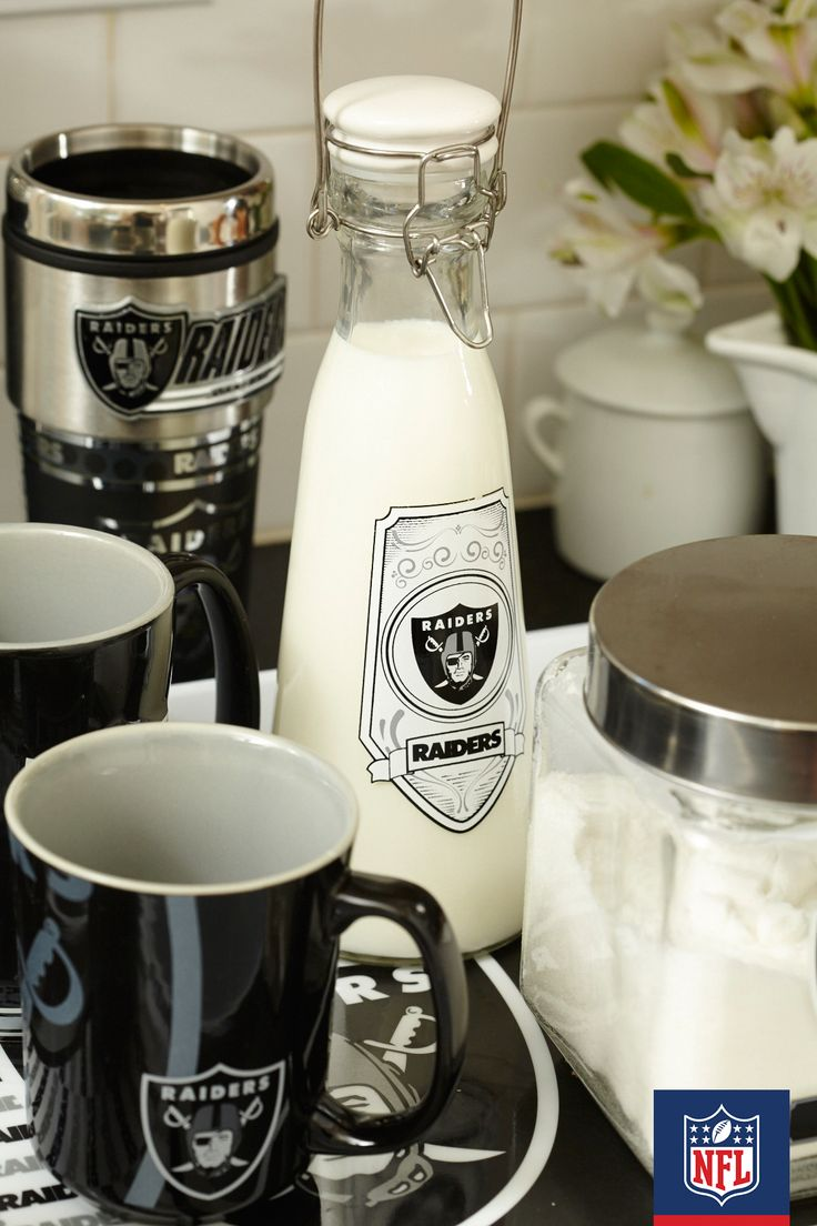 Loving the great monochromatic Raiders style. Bring some of that Oakland attitude to your countertop with a whole slew of cups, bottles, and other kitchen accessories.