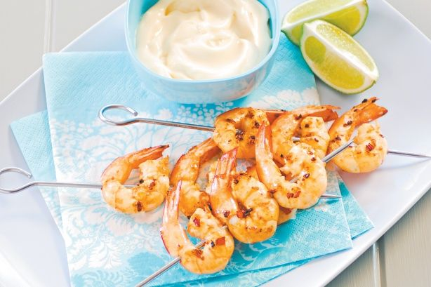 Fire up the barbie this weekend and throw on these prawns. Served with aioli, they're sure to go down a treat.