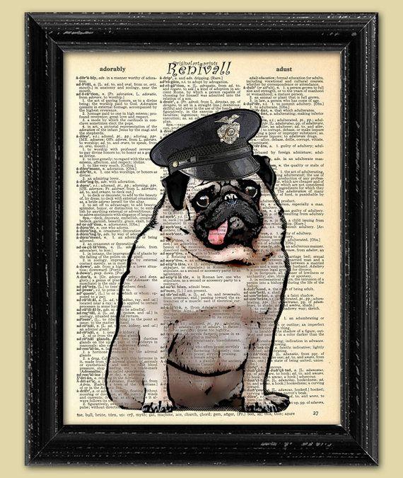 002 PUG Police, Dictionary Art print, Dictionary paper, Wall