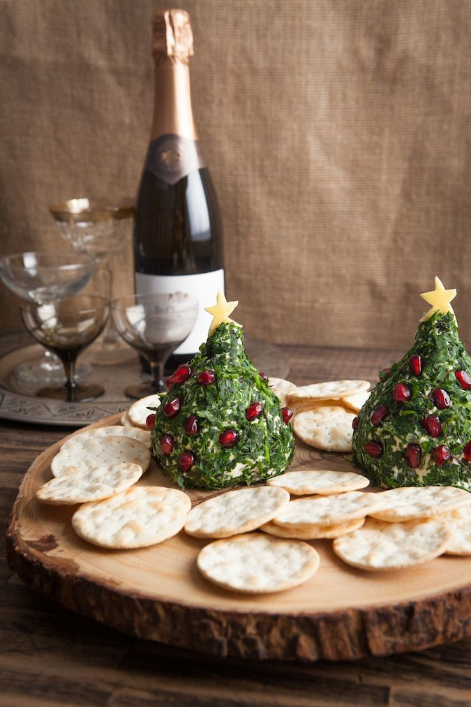 Christmas Tree Cheese Ball for Angela| Chez Us (Use goats cheese stacked into tree shape cover with finely chopped parsley or coriander studded with pomegranate seeds)! AB