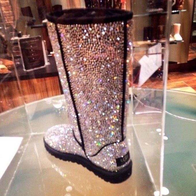 tall black studded ugg boots | shoes Promotion winter bling and sparkly strass tall black sheepskin ...