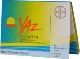 Ilustrační obrázek léčiva YAZ. Příbalový leták naleznete na http://www.pribalovy-letak.cz/454-yaz-0-02-mg-3-mg-potahovane-tablety.