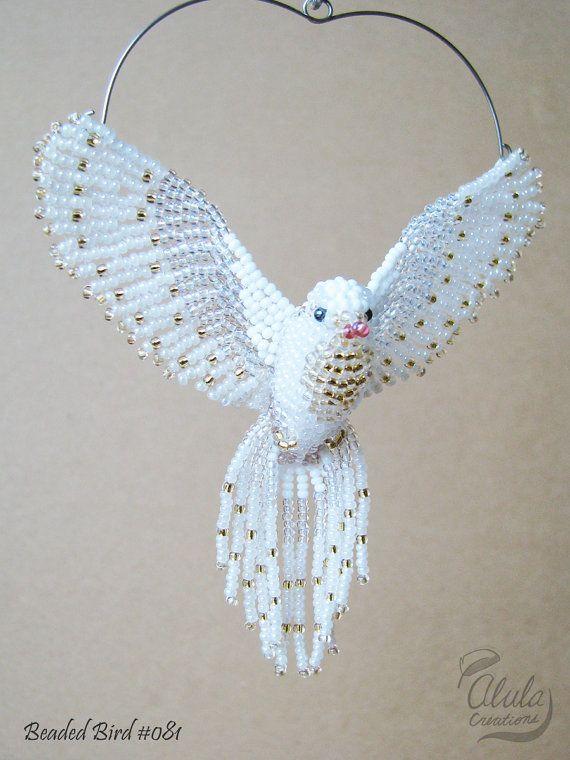 Judy Modell / White Dove Suncatcher, Fenster Dekor, Perlen Vogel Ornament, Vogel Nec …   – Beaded Bird & Dragon ビーズの鳥 ビーズ細工の鳥 ビーズのドラゴンも飛ぶ