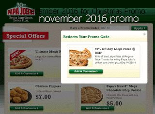 Papa Joes Pizza coupons december