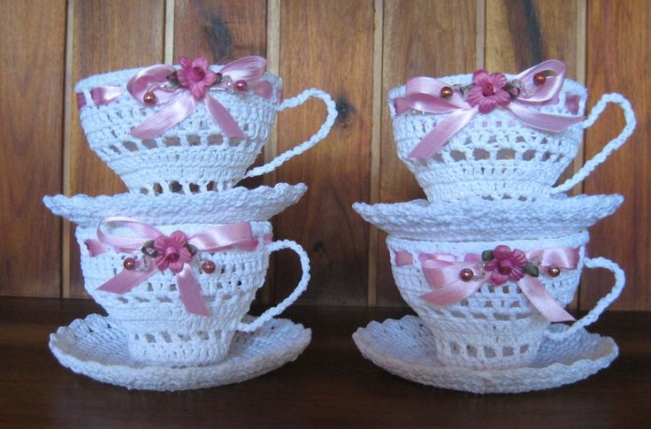 Crochet - cups and saucers made by myself.