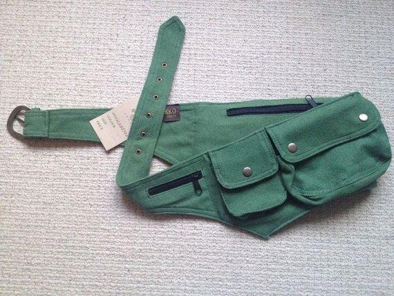 Green CANVAS pocket utility belt psytrance FANNY by GekkoBoHotique