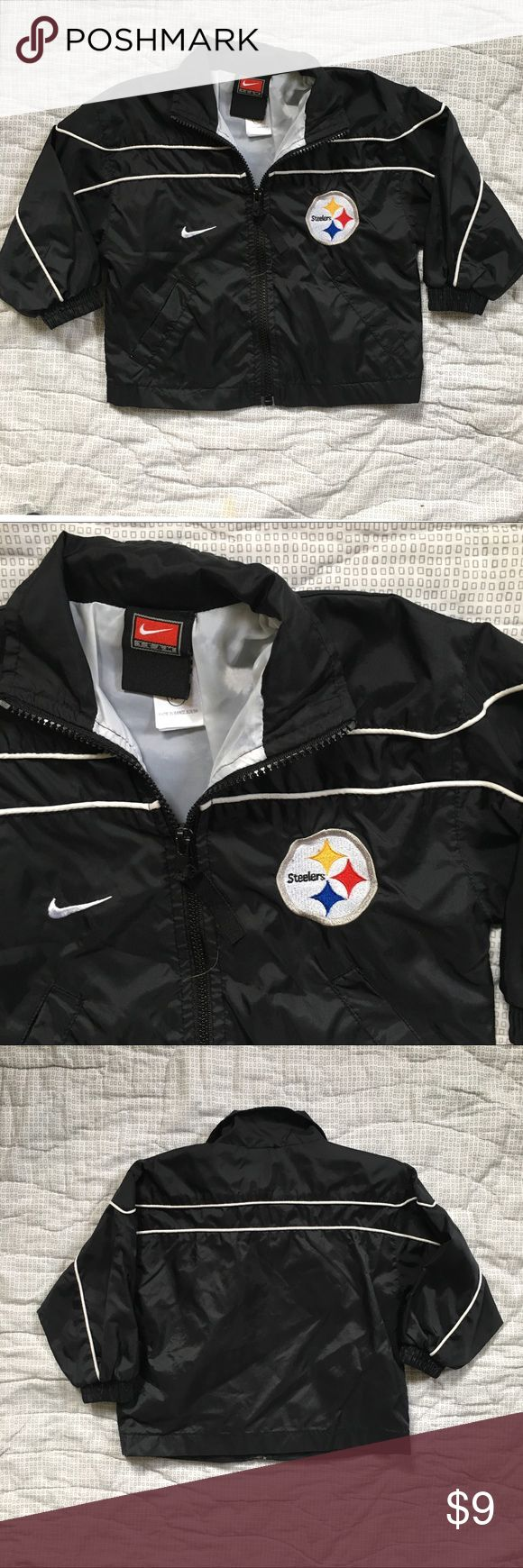 Pittsburgh Steelers NFL jacket 18 Months coat Pittsburgh Steelers Nike NFL football jacket in EUC. Black, gold and white. Smoke free home. Size 18 months. Full zipper up the front. No good. Lightweight this would be more of a raincoat or early fall/late spring jacket. Nike Jackets & Coats
