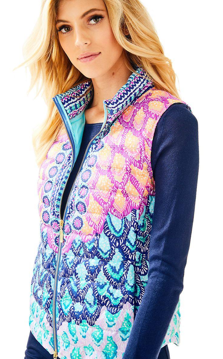 Lilly Pulitzer Womens Essia Masterpiece Puffer Vest