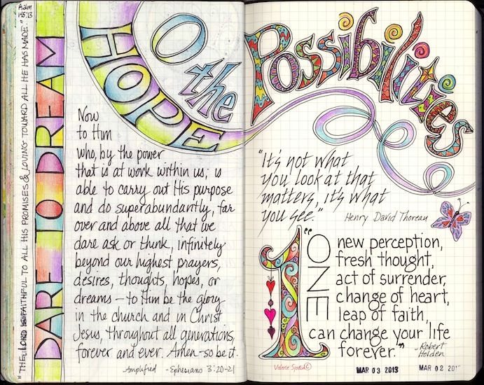 """Wonderful lettering, by Valerie Sjodin.  This is part of a prompt series she worked on, """"An A to Z of Me"""" from her blog.  She also has an art website worth browsing through -  http://valeriesjodin.com/  #art #journal"""
