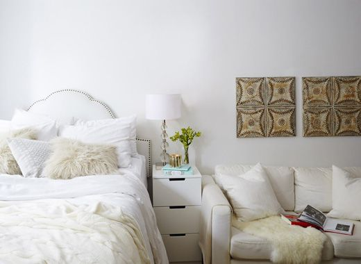 White walls help to open up a compact home, and textiles in shades of cream will warm up your space | #IKEAIDEAS