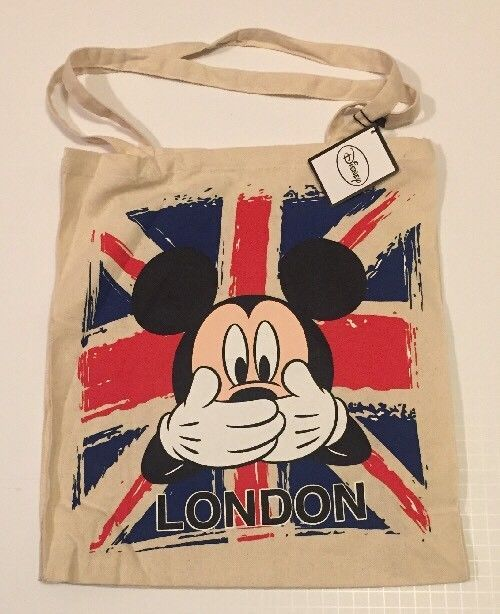 PRIMARK London Mickey Mouse Tote Bag Union Jack Cotton Cloth Disney New Flag | eBay
