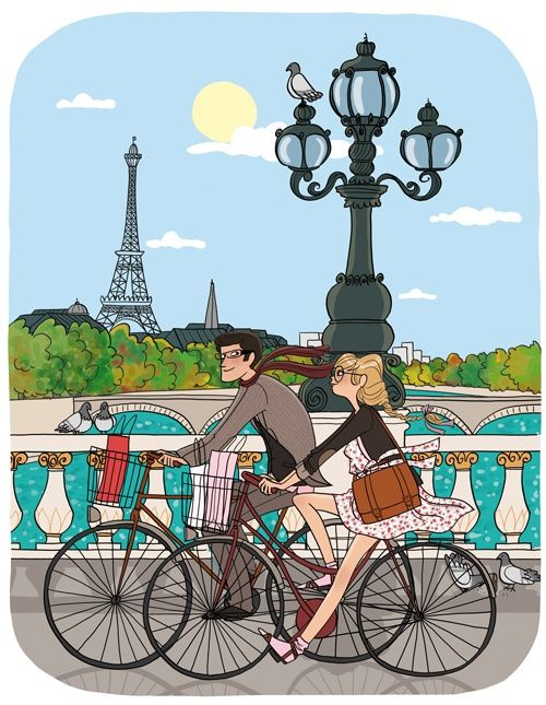 Cycling Bike in Paris #illustration / Andando in Bici a Parigi #illustrazione