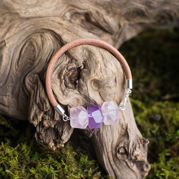 Amethyst and pink quartz leather bracelet / by MyROCKandSOUL