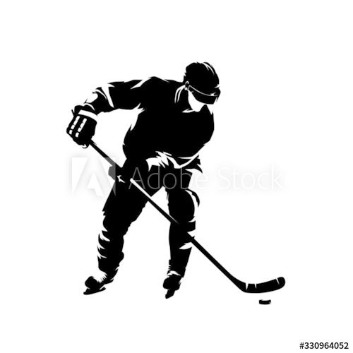 Ice Hockey Player Isolated Vector Silhouette Ink Drawing Ad Ad Player Isolated Ice Hockey Ink In 2020 Hockey Players Ice Hockey Players Players