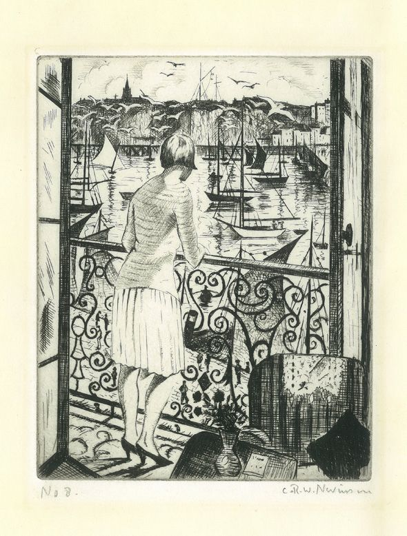 Woman on a Balcony by C R W NEVINSON (British 1889-1946) Etching, printed in black ink on laid paper l 6 7/8 x 5 3/8 inches (17.3 x 13.7 cm); sheet 11 3/8 x 9 inches (29 x 23.1 cm)