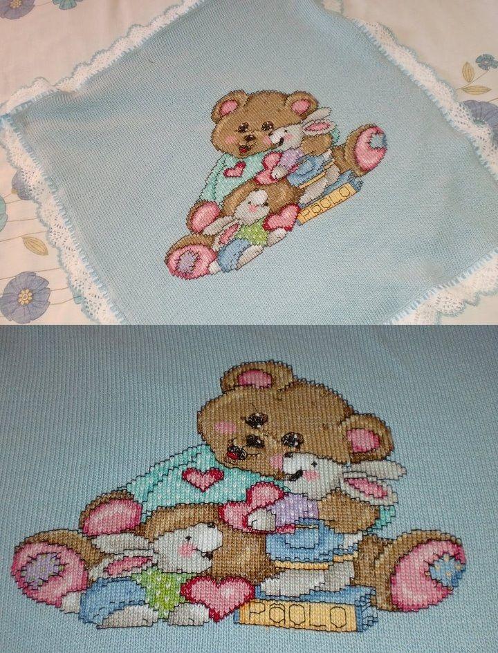 Copertina tricot, crochet e ponto cruz!