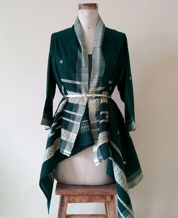 Forest Green Kutch Handwoven and Embroidered Tribal Jacket by Mogra