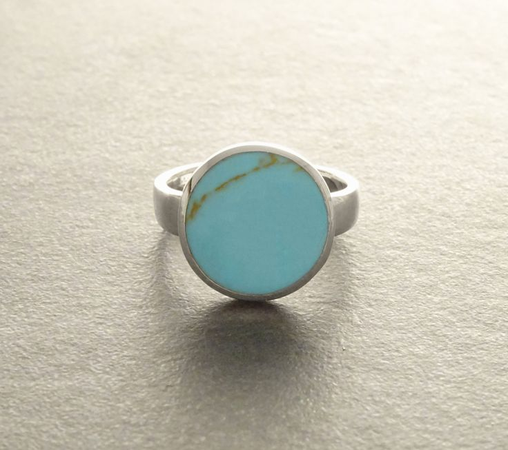 Blue Turquoise Ring - Sterling Silver 925 - Turquoise - Tribal Ring - Hipster Ring - Round Ring - Small Ring - Boho jewelry - Blue Ring.  (39.00 EUR) by KRAMIKE