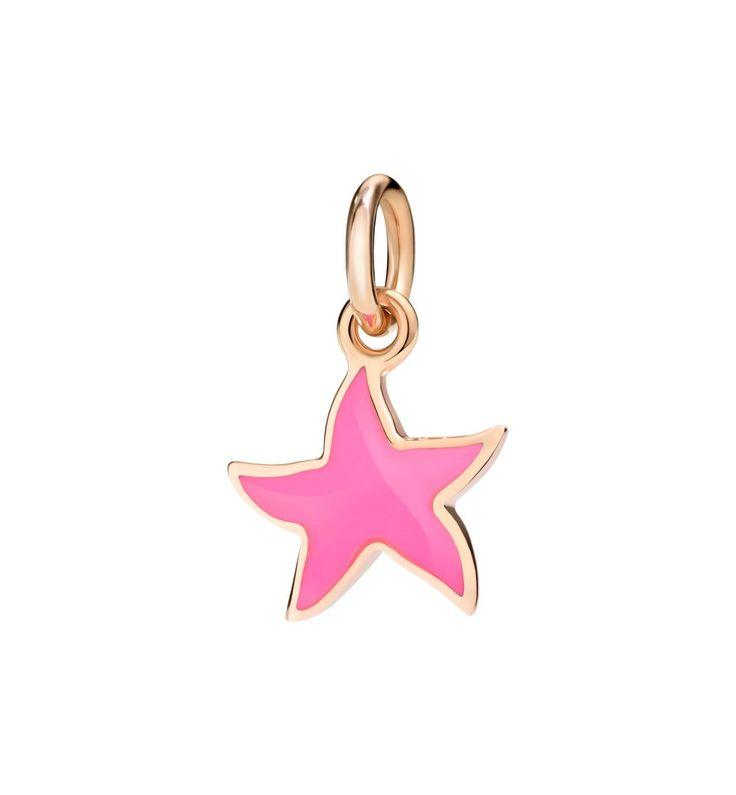 Ciondolo stella marina in oro rosa laccato rosa fluo con cordino incluso DODO - Scintille Shop