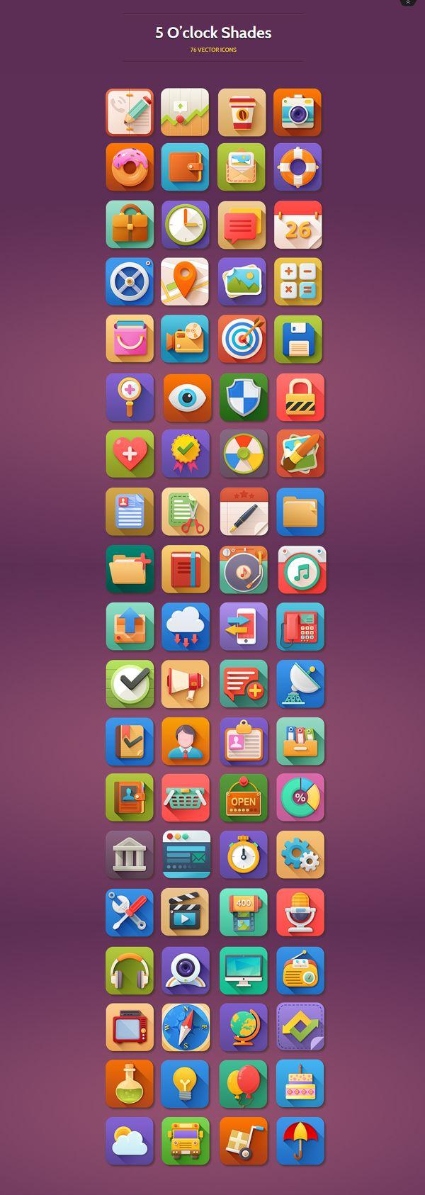 5 O'clock Shades Icon Set by WordPress Awards , via Behance flat gradient UI