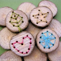 """Wouldn't it be neat to save a """"slice"""" of your Christmas tree each year and have the the kids stitch the design?! :)"""