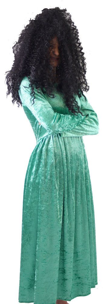 """VERY EFFECTIVE MRS TWIT COSTUME FROM THE BOOK """"THE TWITS"""" BY ROALD DAHL. MRS TWIT COSTUME. A LOVELY EMERALD VELOUR DRESS PERFECT FOR MRS TWIT. BLACK WIG INCLUDED. 