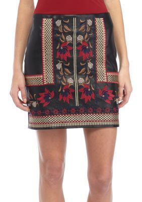 Romeo & Juliet Couture Women's Embroidered Faux Leather Skirt - Black Mult - M