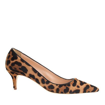 "A kitten heel animal print?  Yes, please!  And Thank you JCrew!  Based on an iconic style from the '50s, these kitten heels are sweet and sultry with a little retro-inspired lift. They're basically flats masquerading as heels. <ul><li>2 1/4"" heel.</li><li>Calf hair upper.</li><li>Leather lining and sole.</li><li>Made in Italy.</li></ul>"
