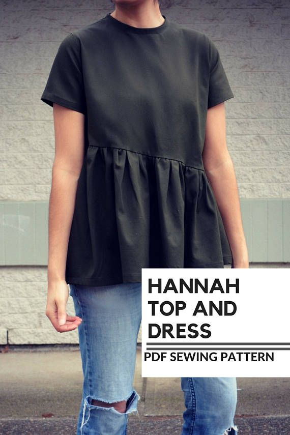 Hannah Top and Dress PDF sewing pattern and step by step sewing tutorial in  sizes 4 to 22. Fully graded asymmetric top dress pattern plus