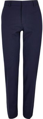 River Island Mens Dark blue skinny fit suit pants