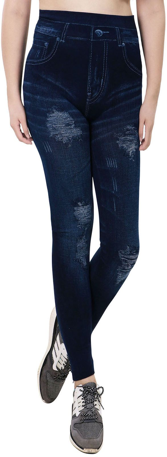 Denim Printed Faux Jeans Ankle Length Seamless Leggings, Ripped
