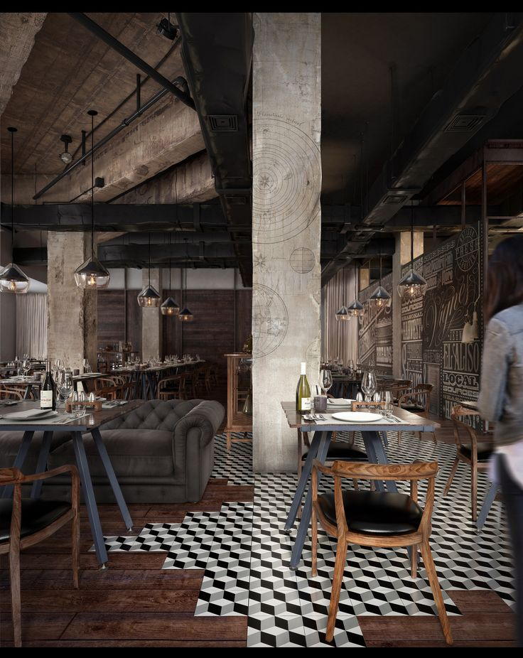 Mercato Restaurant - tiles mix with wooden flooring