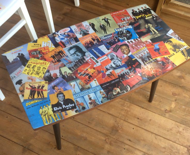 Rock 'n' Roll decoupage mid-century modern upcycled coffee table 1950s record…