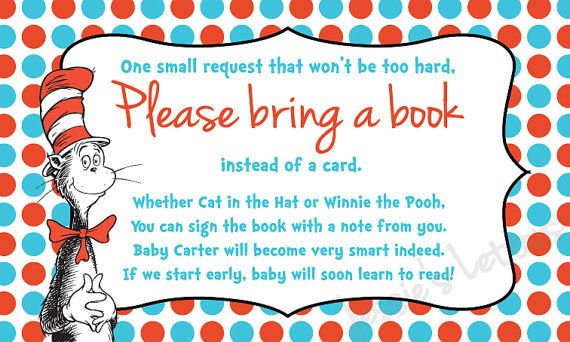 Custom Made Dr. Suess Bring a Book Instead of a Card Insert on Etsy, $5.00