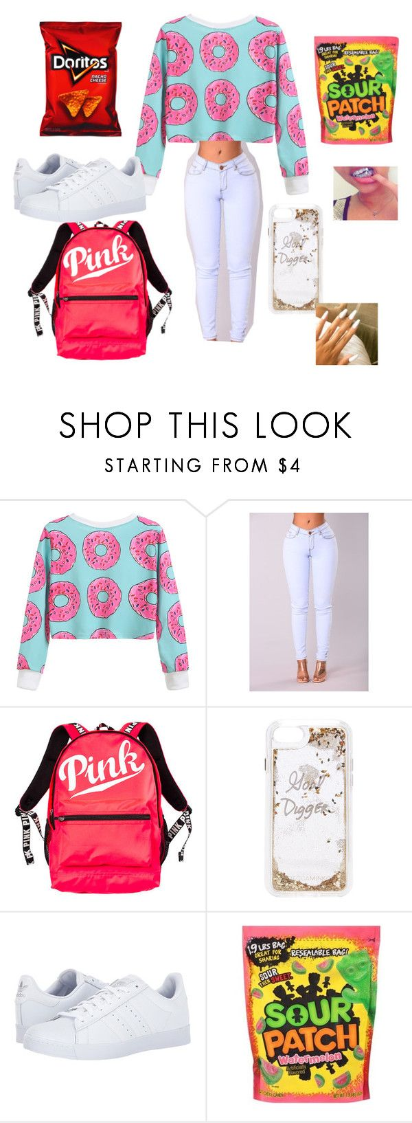 """Donut care "" by th30fficial6re ❤ liked on Polyvore featuring Victoria's Secret, Rebecca Minkoff and adidas"