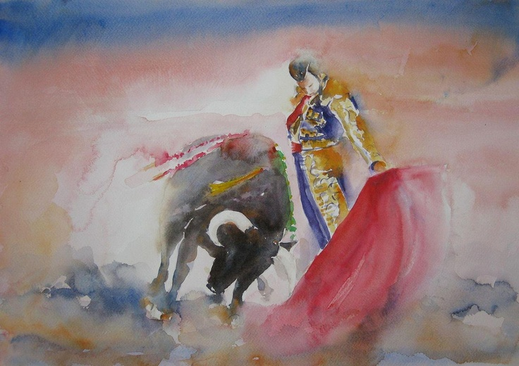 """Natural de Morante"" watercolour by Nusret Topuzoglu, Istanbul, Turkey.Available bpbilbao@gmail.com"