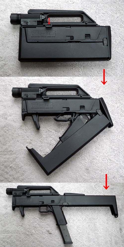 Magpul FMG9 (Folding Machine Gun 9) folding pistol based on a Glock 18