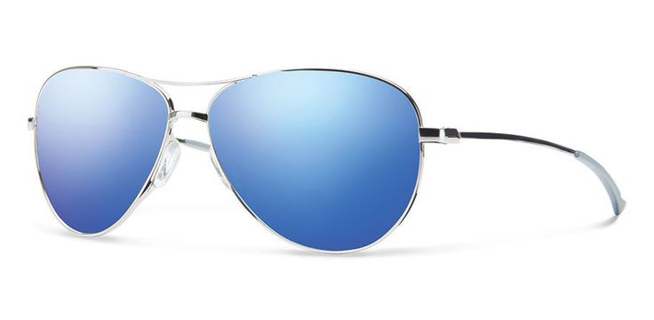 Smith Langley Silver Blue Flash Mirror Aviator Sunglasses
