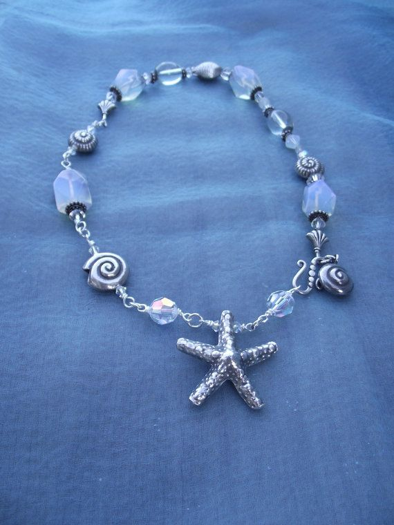 Sterling+Silver+STARFISH+Sea+Shells+and+by+thejeweledmink+on+Etsy,+$185.00