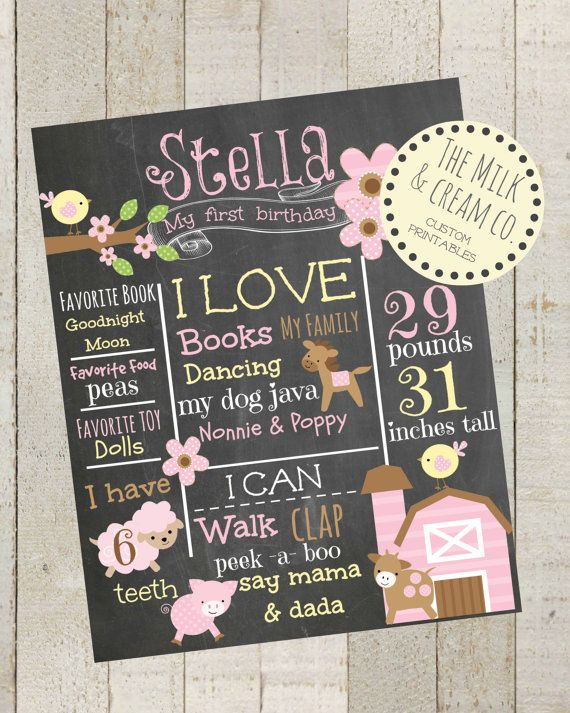 First Birthday Chalkboard Pink Barnyard by themilkandcreamco, $15.00 First Birthday Chalkboard -Pink Barnyard Animals- 100% CUSTOMIZED Poster Sign Birthday Printable File, 1st Birthday Photo Prop