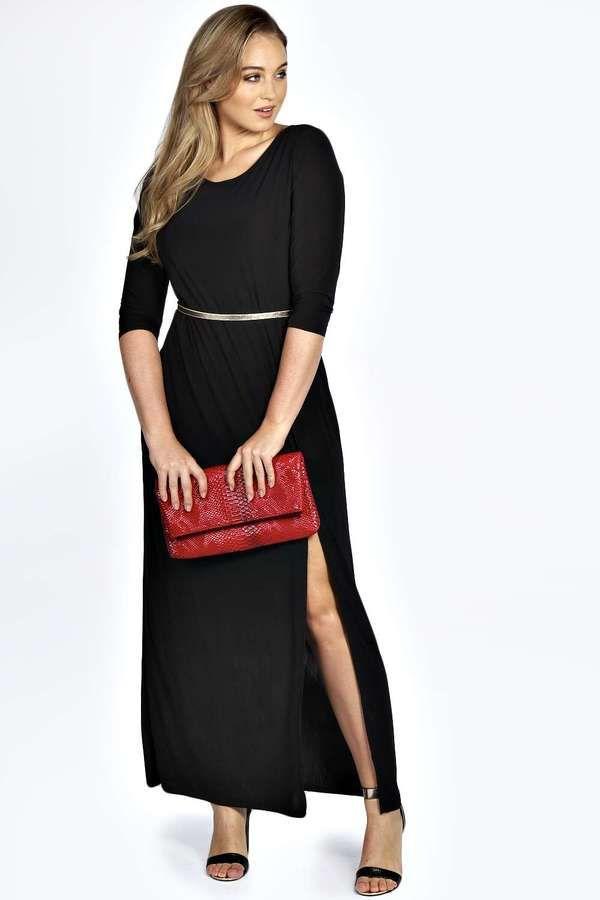 Plus Size Side Split Slinky Maxi Dress