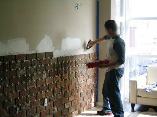 DIY Brick Wall: using thin bricks (1/2 inch) to create that old new york apartment feel. This is brilliant, really.