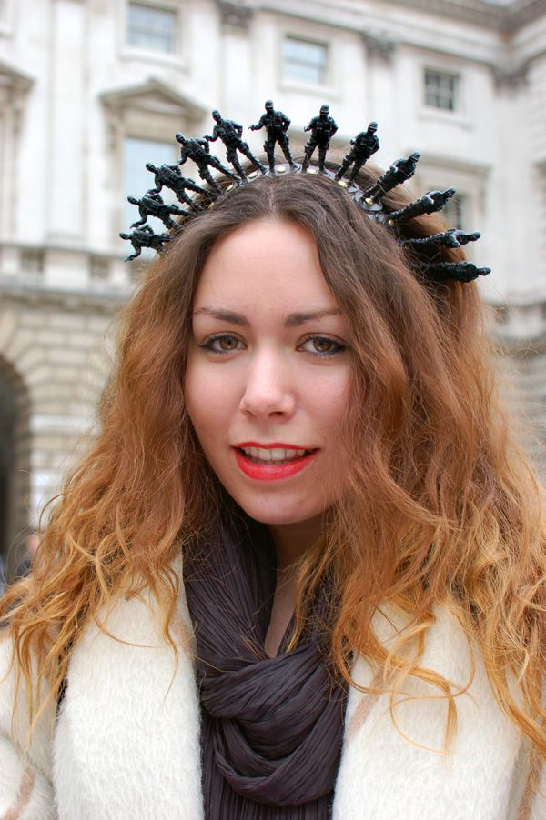 "halloweencrafts: "" DIY Inspiration: Army Men Headband. From the Style Scout: London Fashion Week 2011. You could glue any small plastic figure you wanted to on top of a wrapped metal headband. Statue..."