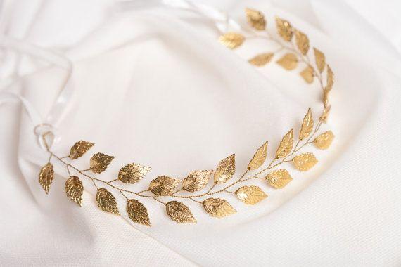 Gold leaf headband Gold bridal hair vine by AnnAccessoriesStudio