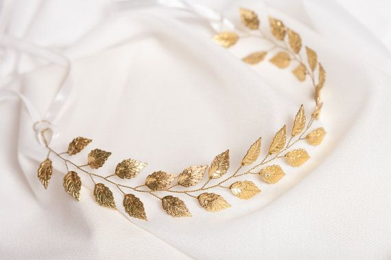 Gold leaf headband Gold bridal hair vine by AnnAccessoriesStudio