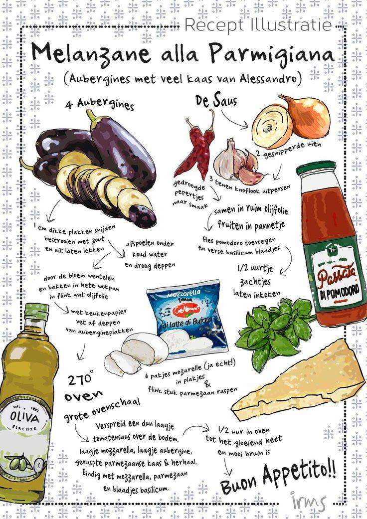 Melanzane alla Parmigiana authentiek Italiaans recept. Het zijn aubergines met heel veel kaas. Met tips om Italiaans te koken. Wil jij ook een recept laten illustreren? Laat het mij weten!